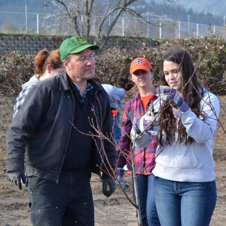 Farm volunteers on Arbor Day